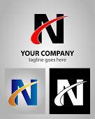 foto of letter n  - Letter N logo template design illustration abstract - JPG