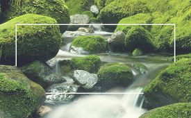 stock photo of greenery  - Cascading Waterfall Cascading Atmosphere Greenery Concept - JPG