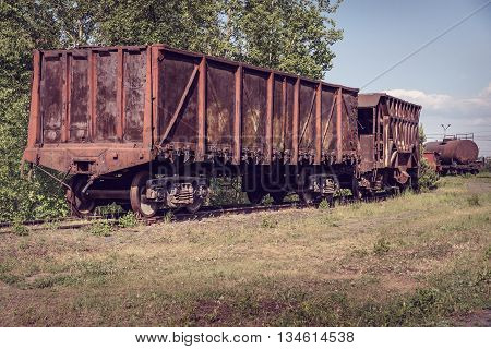 Old Open Wagon And Hopper Car
