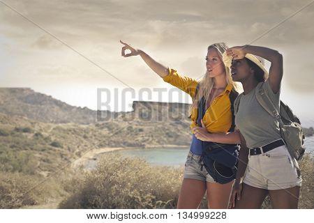 Girls admiring the natural landscape