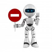 Funny robot stay with stop sign