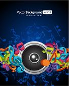 image of musical note  - Speaker with fly 3d music notes vector background - JPG