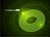 3d wire torus vector background