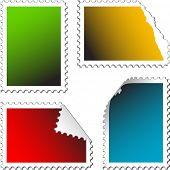 conjunto de selos de correio vazia sobre um fundo branco