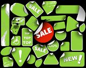Set of green sale labels (grunge)