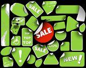 Set of green sale labels (grunge)