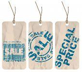 Conjunto de etiquetas de papel arrugado en venta, descuento