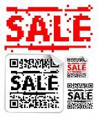 Set of sale labels with qr codes (modern bar codes)