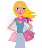 Shopping in the city: Blond shopper girl with pink bags