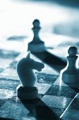 image of chess pieces  - Chess on a board - JPG