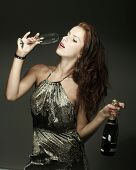Beautiful woman with ?champagne
