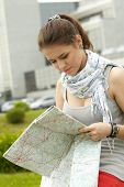 traveler girl searching for her destination on the map poster