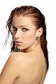 image of breast exposed  - Beautiful woman in spa center - JPG