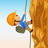 Cartoon Rock Climber On Vertical Cliffside