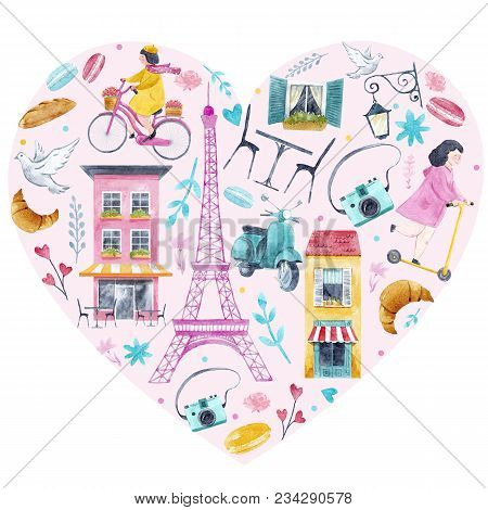 Beautiful Heart Illustration With Watercolor