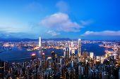 View Of Hong Kong City Skyline At Dusk. View From The Peak Hongkong. poster