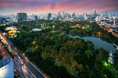 Sunset Scence Of Bangkok Modern Office Buildings And Condominium In Bangkok City Downtown With Sunse poster