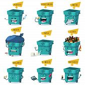 Sorting, Recycling And Waste Disposal And Trash. Vector Cartoon Character Set Of A Cute And Funny Ga poster