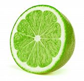 Perfectly Retouched Sliced Half Of Lime Fruit Isolated On The White Background With Clipping Path. O poster