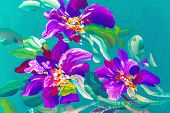 Painting Flowers  . Oil Painting, Impressionist Style, Flower Painting, Bright Colors poster