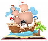 pic of pop up book  - 3D Illustration of Kids Playing in a Pirate Ship on a Popup Book - JPG