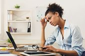 Deadline Stress Concept - Sad African-american Business Woman Sitting At Desktop In Office, Working  poster