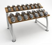 Dumbbells on the stand