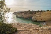 Benagil Beach Caves In The Coastline Algarve Portugal poster
