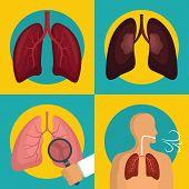Lung Organ Human Breathing Icons Set. Flat Illustration Of 4 Lung Organ Human Breathing Vector Icons poster