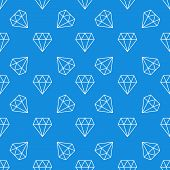 Diamond Blue Seamless Pattern. Vector Modern Background Or Texture Made With White Linear Diamonds I poster