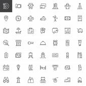 Travel Outline Icons Set. Linear Style Symbols Collection, Line Signs Pack. Vector Graphics. Set Inc poster