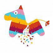 Fiesta Horse Broken Pinata Illustration For Kids Play Cartoon Vector Illustration Mexican Traditiona poster