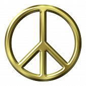image of peace-sign  - 3D Golden Peace Symbol that is isolated in white - JPG