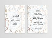 Invitation Card Template Of Geometric Design. Two Side. Invitation To A Wedding Party. White Marble  poster
