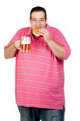 Fat Man Drinking A Jar Of Beer And Eating Hamburger