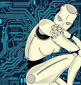 Female Robot With Artificial Intelligence, Sits Pensively On The Background Of Circuit Board. Can Il poster