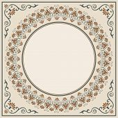 Ornate Round Framework. For An Announcement, Label, Card. Decorative Corners. Pattern Brush Is Inclu poster