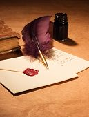 Letter, Quill, Book