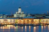 Night view to Helsinki Cathedral and Market square in Helsinki, Finland poster