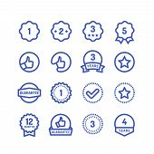 Warranty Stamps Line Icons. Goods Durability Guarantee Circular Vector Symbols Isolated. Illustratio poster