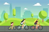 Happy Family On Bicycles. Healthy Summer Cycling With Kids In Park. Active People Ride Bike. Sports  poster