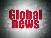 News Concept: Painted Red Text Global News On Digital Data Paper Background With  Hand Drawn News Ic poster