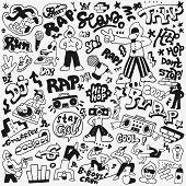 Rap Style Vector Icons, Hip Hop Symbols , Design Elements poster
