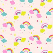 Rainbow And Clouds Cute Baby Seamless Vector Pattern. Pink Rainy Sky For Kid Fabric Print. poster