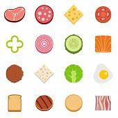 Slice Food Ingredient Icons Set. Flat Illustration Of 16 Slice Food Ingredient Vector Icons Isolated poster