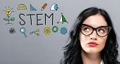 Stem With Young Businesswoman In A Thoughtful Face poster