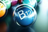 Vitamin B12, On Black Background. Symbol Of Health And Longevity, 3d Rendering poster