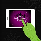 Zombie Hand With Tablet.  Illustration Isolated On Black. Happy Halloween, Zombies Party. poster
