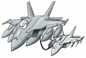 Refueling Military Jet Giving Fuel To A Military Fighter Jet Cartoon Graphic poster