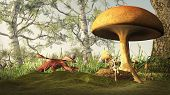 picture of faerie  - Red dragon creeping up on a pretty blonde fairy sitting under a toadstool in a fairytale forest - JPG